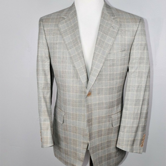 Canali Other - Canali Mens Plaid Silk Wool Blend Sport Coat 42S